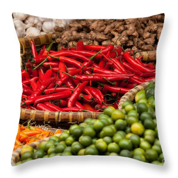 Chillies 01 Throw Pillow by Rick Piper Photography