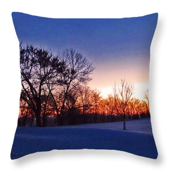 Chilly Beautiful Sunrise Throw Pillow by Minding My  Visions by Adri and Ray
