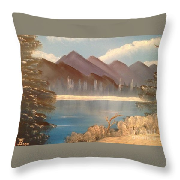 Chilly Mountain Lake Throw Pillow by Tim Blankenship