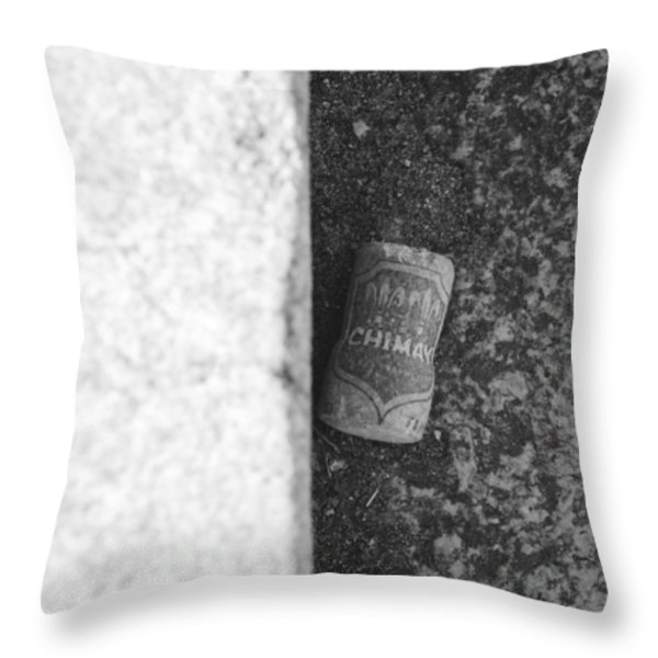 CHIMAY WINE CORK in BLACK AND WHITE Throw Pillow by ROB HANS