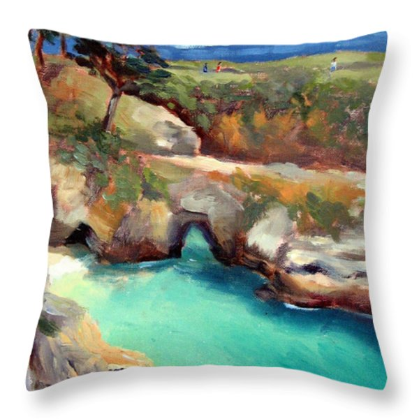 China Cove Point Lobos Throw Pillow by Karin  Leonard