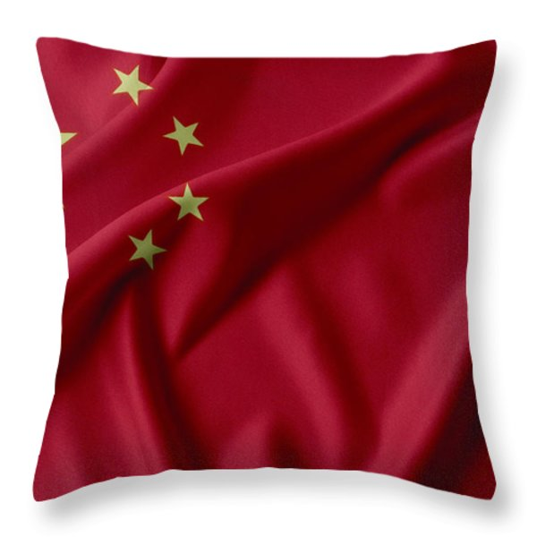 China Flag  Throw Pillow by Les Cunliffe