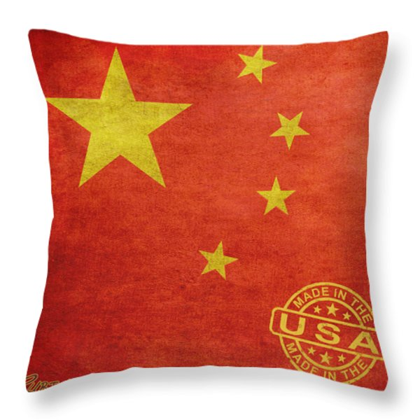 China Flag Made In The USA Throw Pillow by Tony Rubino