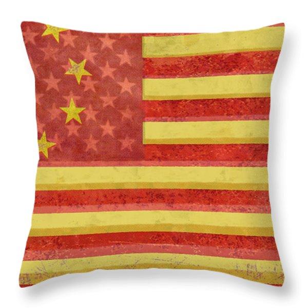 Chinese American Flag Blend Throw Pillow by Tony Rubino