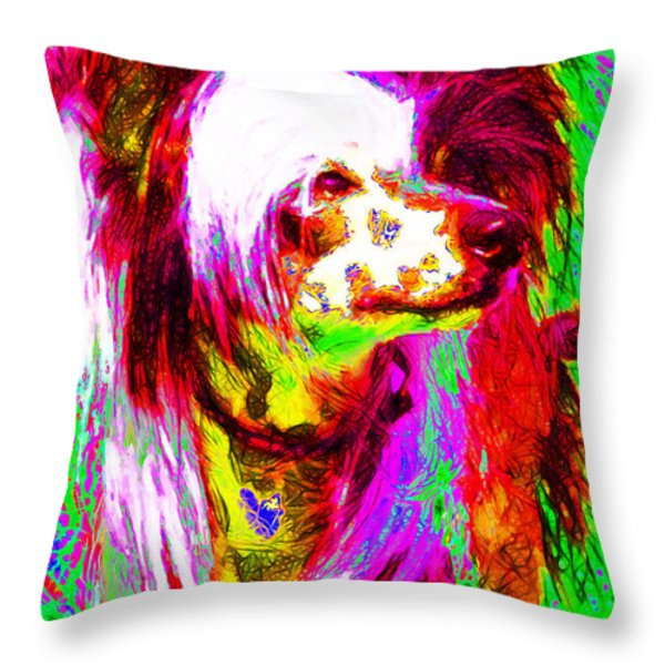 Chinese Crested Dog 20130125v2 Throw Pillow by Wingsdomain Art and Photography