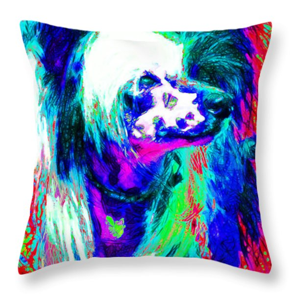 Chinese Crested Dog 20130125v3 Throw Pillow by Wingsdomain Art and Photography