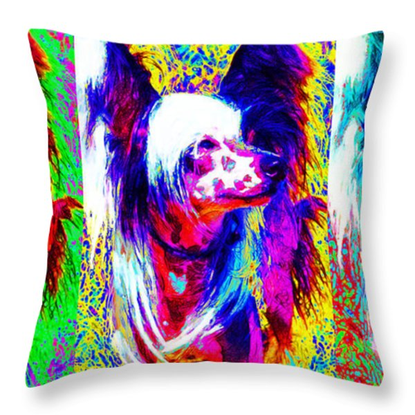 Chinese Crested Dog Three 20130125 Throw Pillow by Wingsdomain Art and Photography