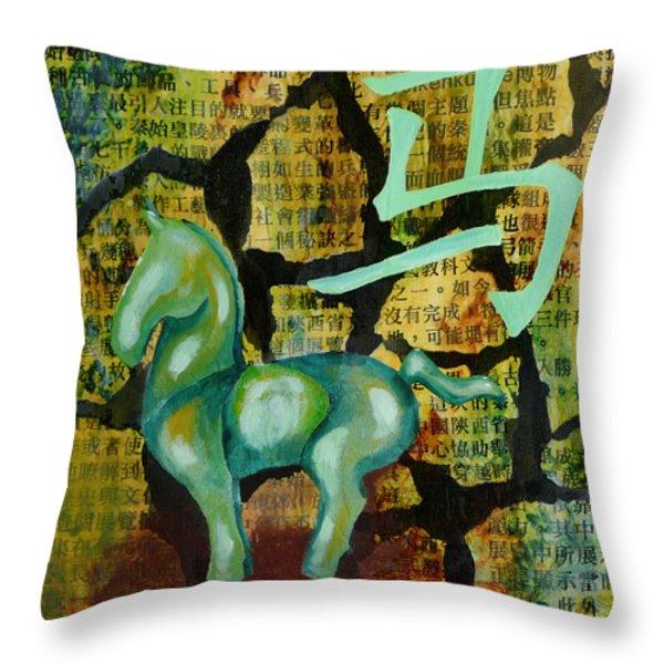 Chinese Horse Throw Pillow by Lida Bruinen