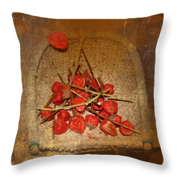 Chinese Lantern Seed Pods Throw Pillow by Kume Bryant