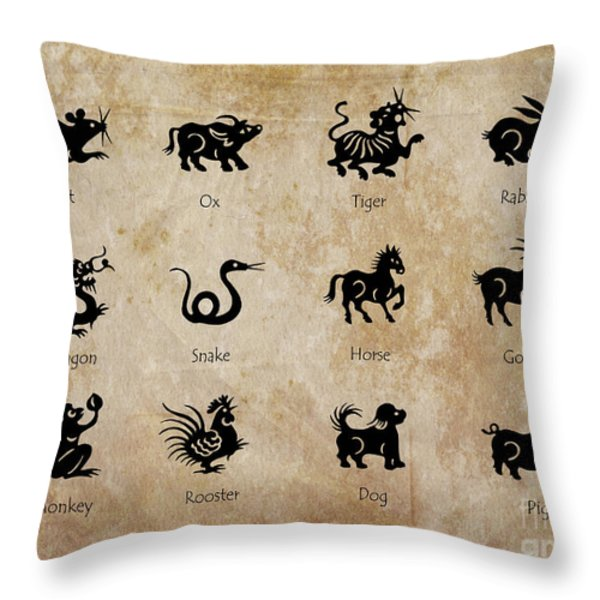 Chinese zodiac Throw Pillow by Delphimages Photo Creations