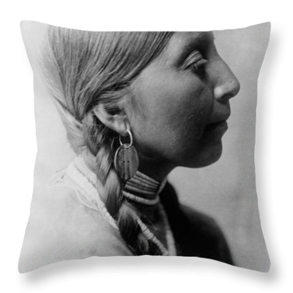 Chinookan indian woman circa 1910 Throw Pillow by Aged Pixel