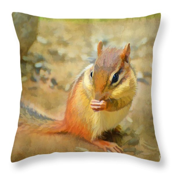 Chipmonk - Digital Paint I Throw Pillow by Debbie Portwood