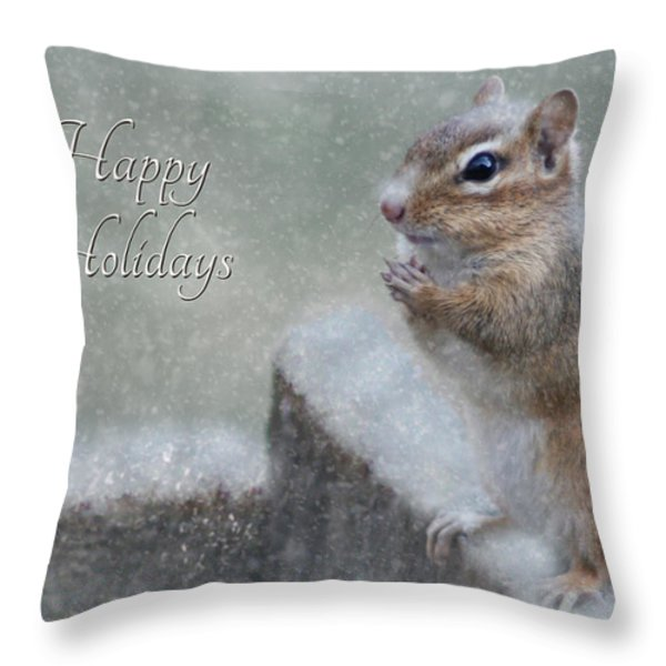 Chippy Christmas Card Throw Pillow by Lori Deiter