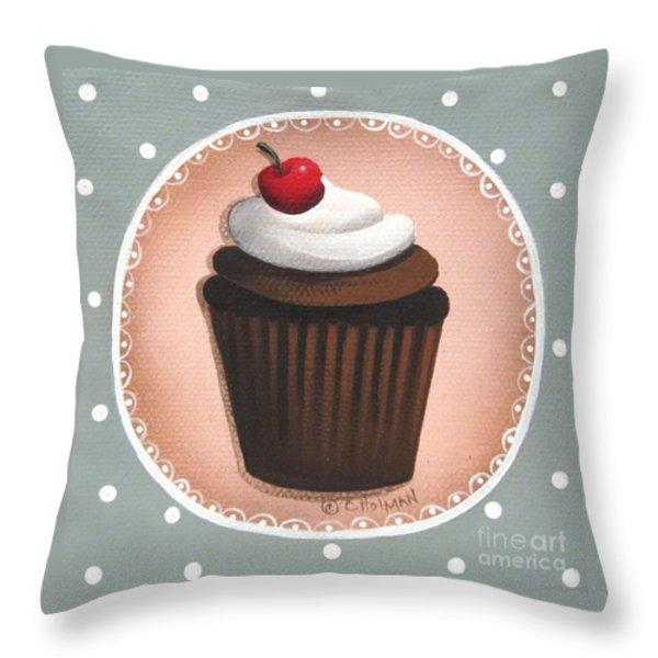 Chocolate Cherry Chip Cupcake Throw Pillow by Catherine Holman