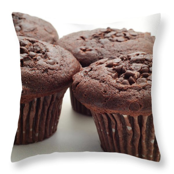 Chocolate Chocolate Chip Muffins - Bakery - Breakfast Throw Pillow by Andee Design