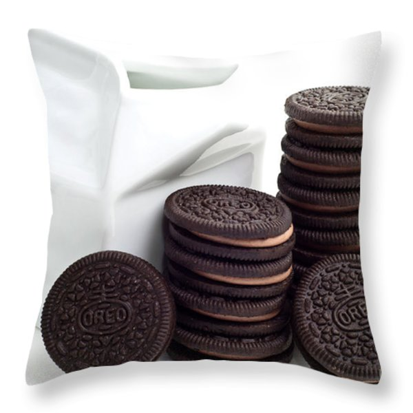 Chocolate Cream Oreos And Milk Throw Pillow by Andee Design