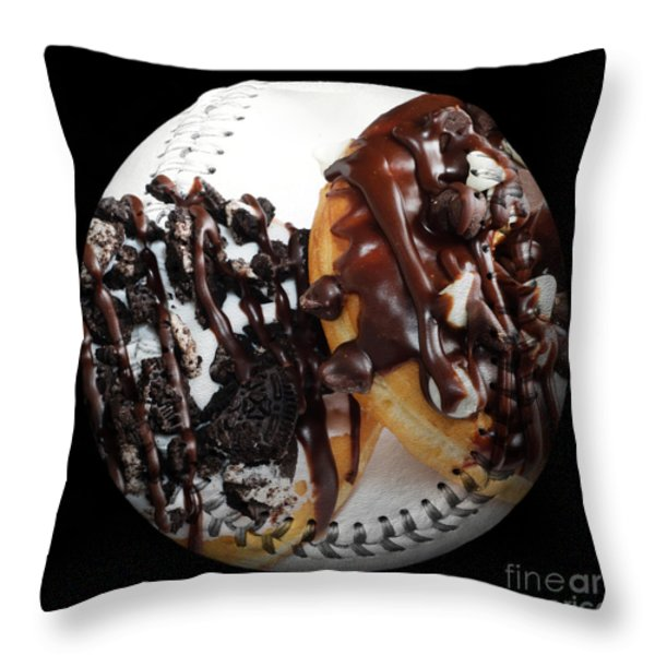 Chocolate Donuts Baseball Square Throw Pillow by Andee Design