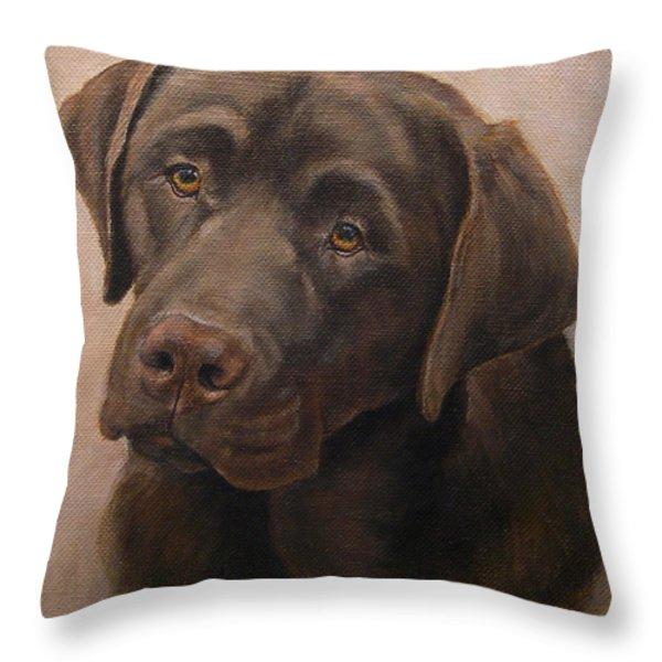 Chocolate Labrador Retriever Portrait Throw Pillow by Amy Reges