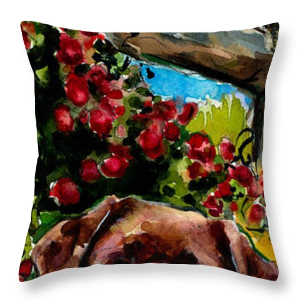 Chocolate Raspberry Fields Throw Pillow by Molly Poole