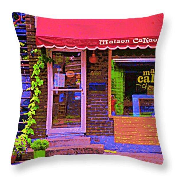 Chocolate Shop La Maison  Cakao Chocolaterie Boulangerie Patisserie Rue Fabre Montreal  Cafe Scene  Throw Pillow by Carole Spandau