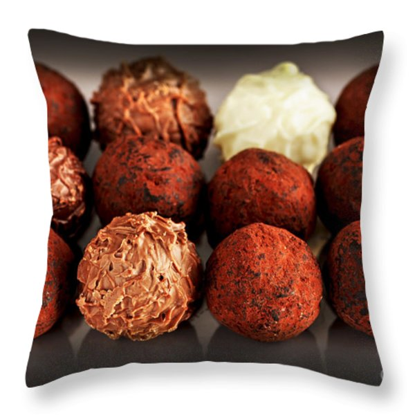 Chocolate truffles Throw Pillow by Elena Elisseeva