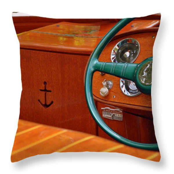 Chris Craft Cockpit Throw Pillow by Michelle Calkins