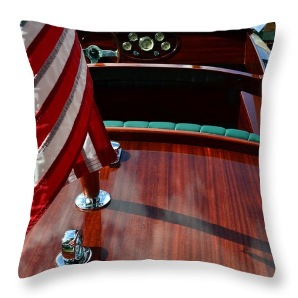 Chris Craft With Flag And Steering Wheel Throw Pillow by Michelle Calkins