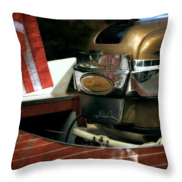 Chris Craft With Johnson Motor Throw Pillow by Michelle Calkins