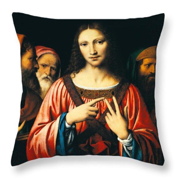 Christ Among The Doctors Throw Pillow by Bernardino Luini