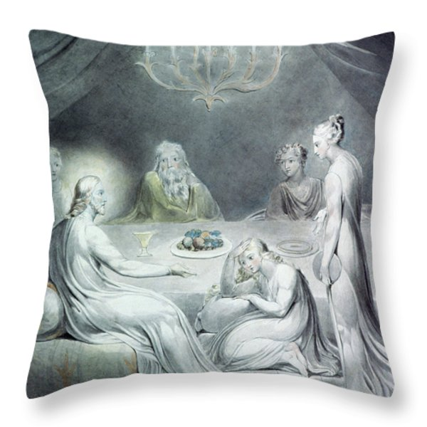 Christ In The House Of Martha And Mary Or The Penitent Magdalene Throw Pillow by William Blake