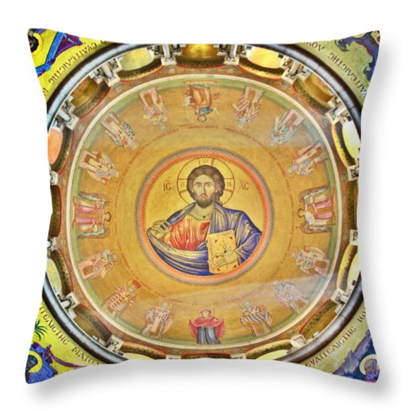 Christ Pantocrator -- Church Of The Holy Sepulchre Throw Pillow by Stephen Stookey