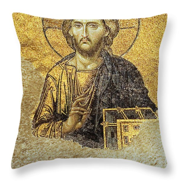 Christ Pantocrator-detail Of Deesis Mosaic Hagia Sophia-judgement Day Throw Pillow by Urft Valley Art