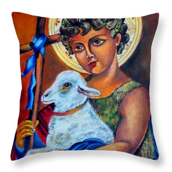 Christ The Good Shepherd  Throw Pillow by Ryszard Sleczka
