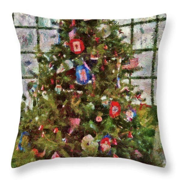 Christmas - An American Christmas Throw Pillow by Mike Savad