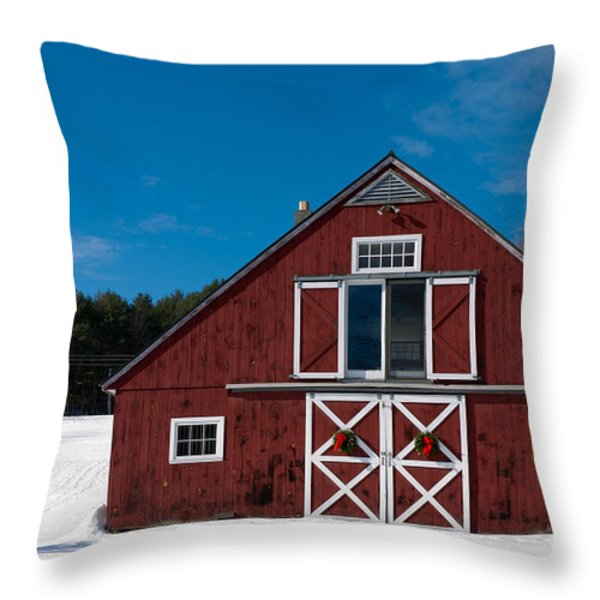 Christmas Barn Throw Pillow by Edward Fielding