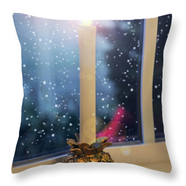 Christmas Candle Throw Pillow by Brian Wallace