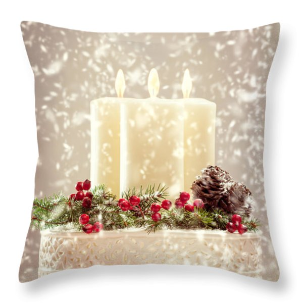 Christmas Candles Throw Pillow by Amanda And Christopher Elwell