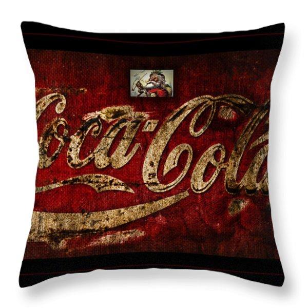 Christmas Coca Cola 1881 Santa Throw Pillow by John Stephens
