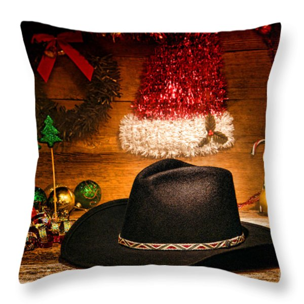 Christmas Cowboy Hat Throw Pillow by Olivier Le Queinec
