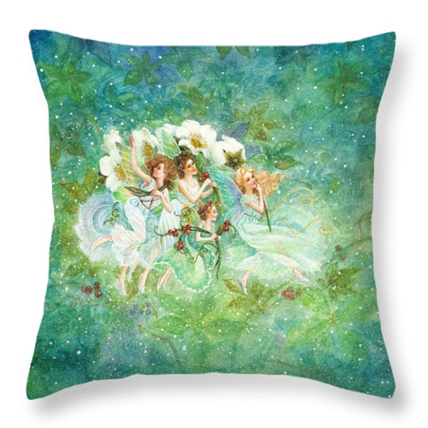 Christmas Fairies Throw Pillow by Lynn Bywaters