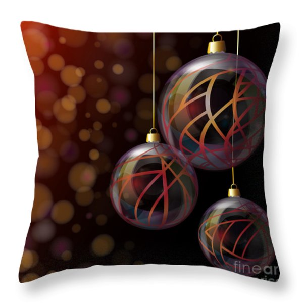 Christmas glass baubles Throw Pillow by Jane Rix