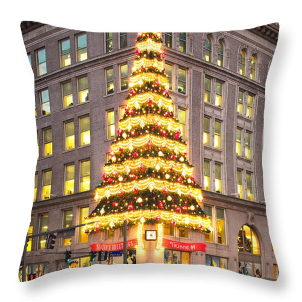 Christmas In Pittsburgh Throw Pillow by Emmanuel Panagiotakis