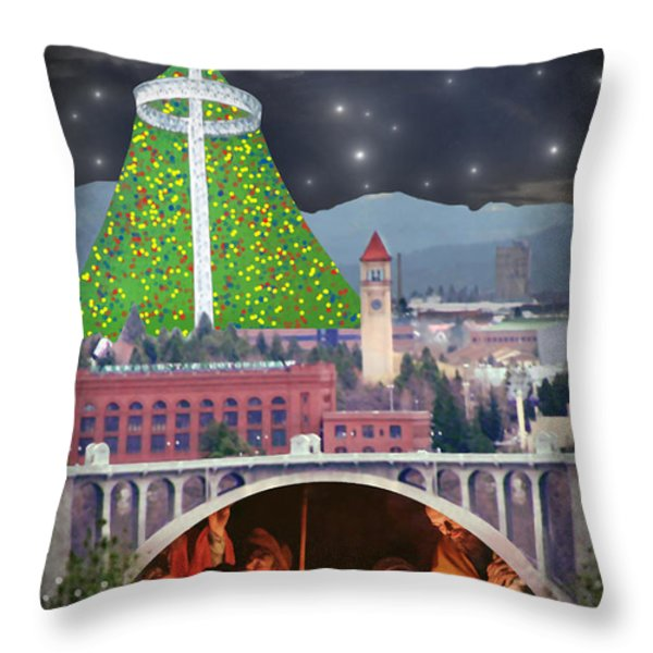 Christmas In Spokane Throw Pillow by Mark Armstrong