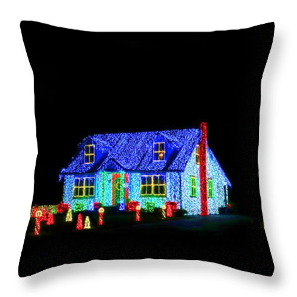 Christmas Lights Throw Pillow by Olivier Le Queinec