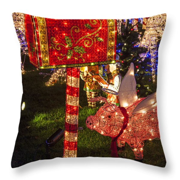 Christmas Mailbox Throw Pillow by Garry Gay