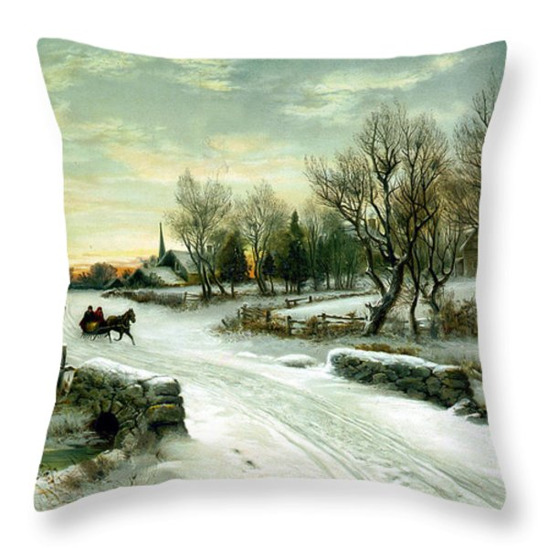 Christmas Morn Throw Pillow by W C Bauer