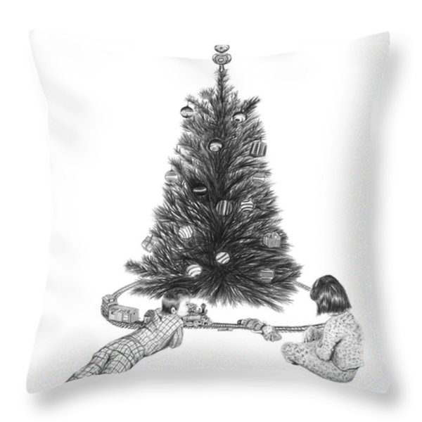 Christmas Morning Play Throw Pillow by Peter Piatt