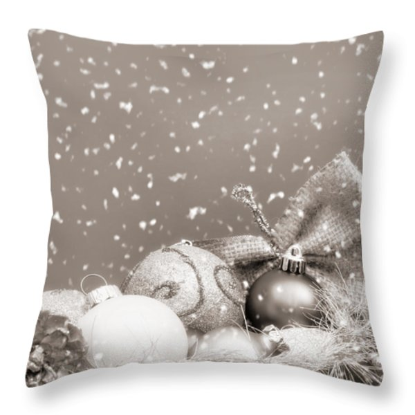 Christmas Ornaments Throw Pillow by Wim Lanclus
