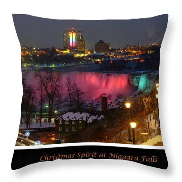 Christmas Spirit At Niagara Falls - Holiday Card Throw Pillow by Lingfai Leung