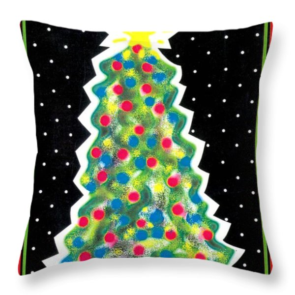 Christmas Tree Polkadots Throw Pillow by Genevieve Esson